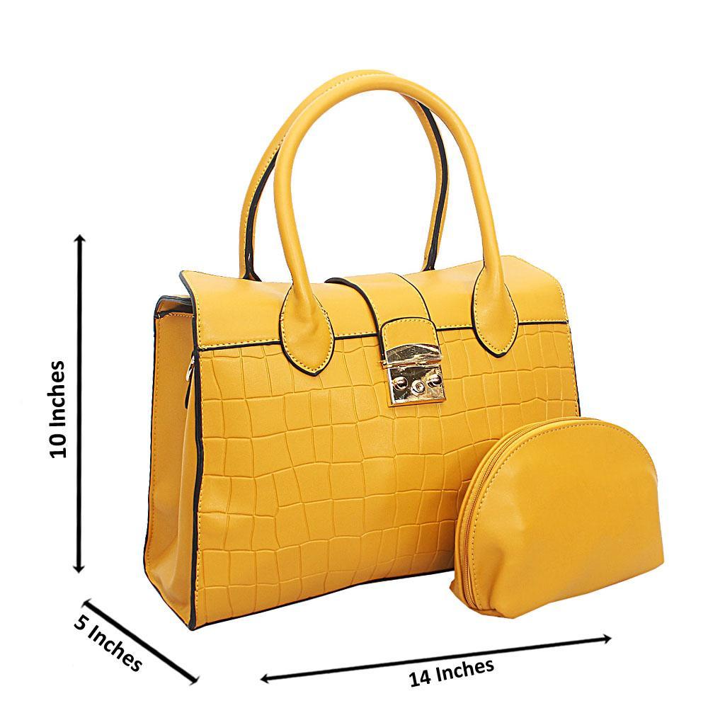 Yellow Lotti Smooth Croc Leather Tote Handbag