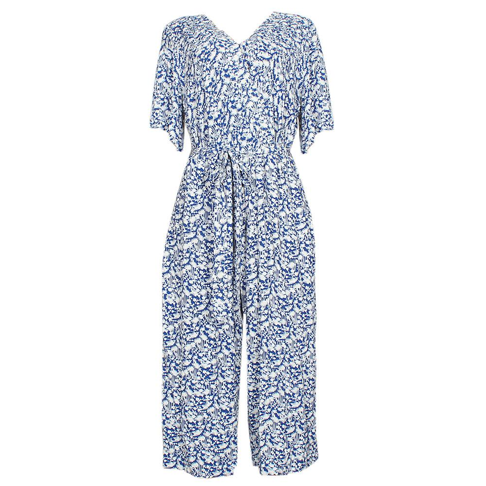 M&S Blue White S/Sleeve Cotton Jumpsuit