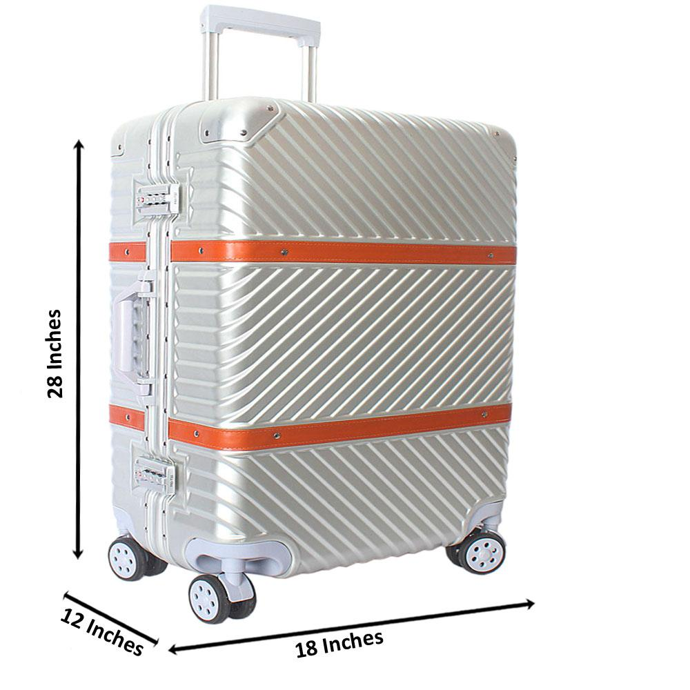 Silver 28 Inch Hardshell 4 Wheels Spinners Large Suitcase