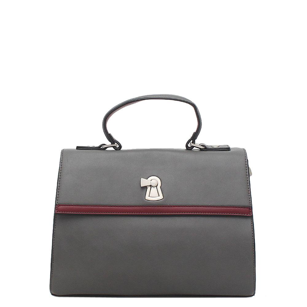 Susen Grey Leather Small Handbag