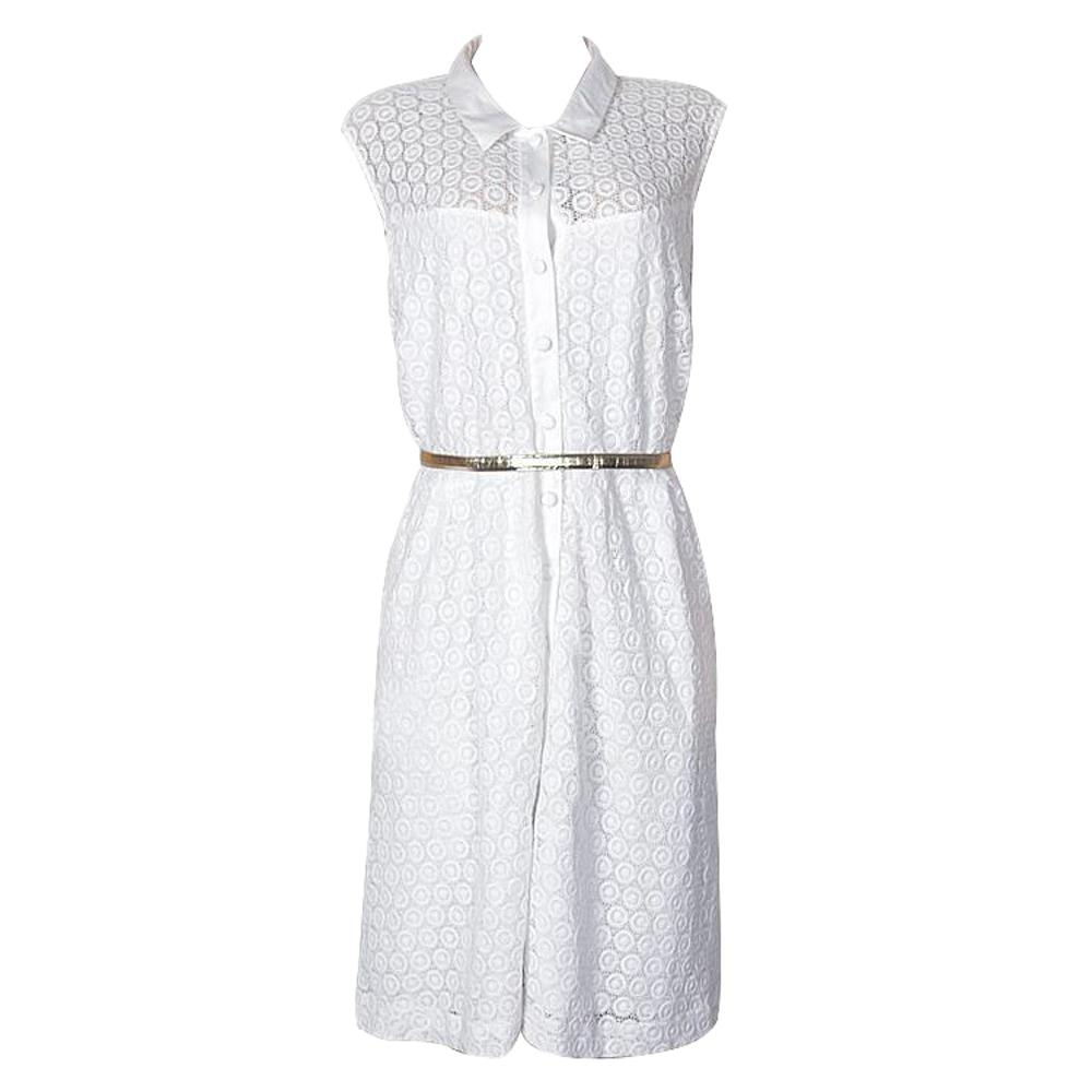 Calvin Klein White Sleeveless Lace Dress Wt Belt