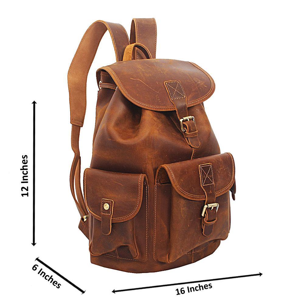 Brown Cowhide Leather Urban Backpack