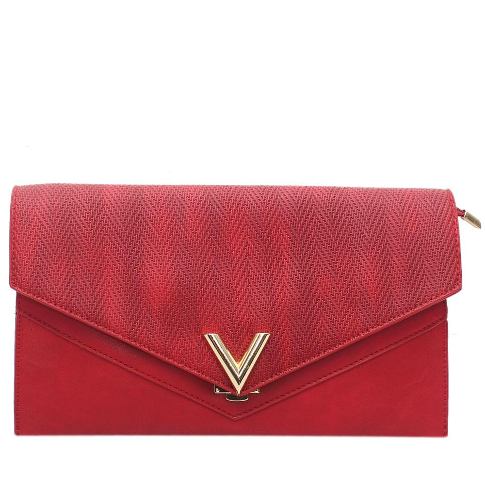 Red V Leather Flat Purse