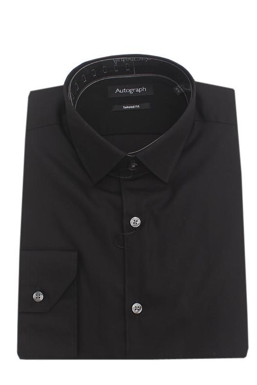 M & S Autograph Black Cotton Tailored Fit L/Sleeve Men Shirt