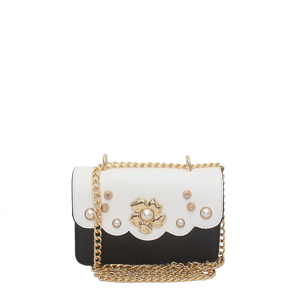 White Black Leather Small Crossbody Bag