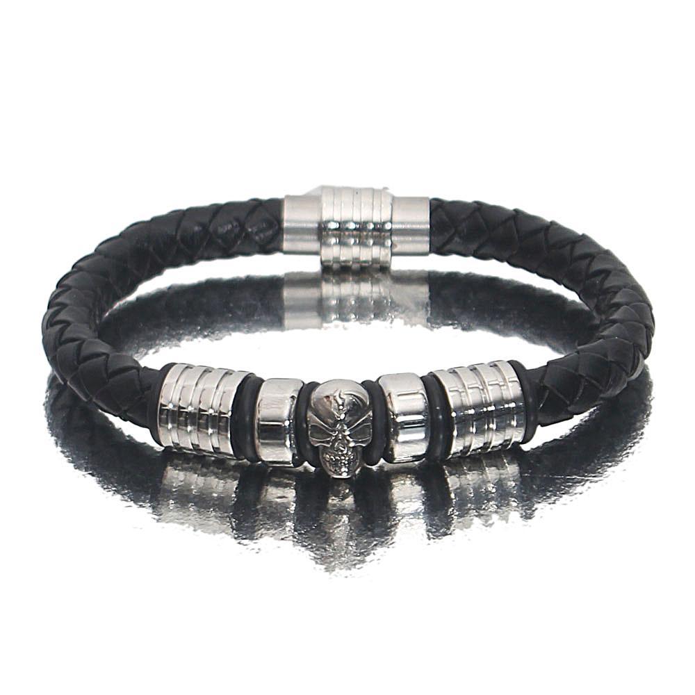 Silver Black Skull Leather Bracelet