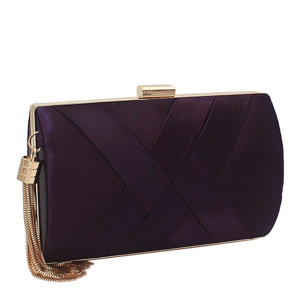 Purple Pleated Satin Clutch Purse