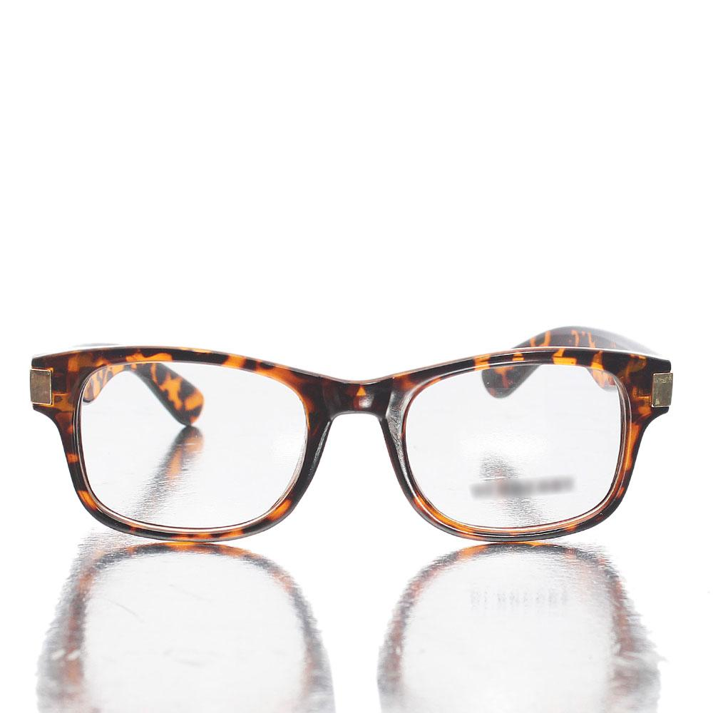 Brown Wayfarer Transparent Lens Glasses