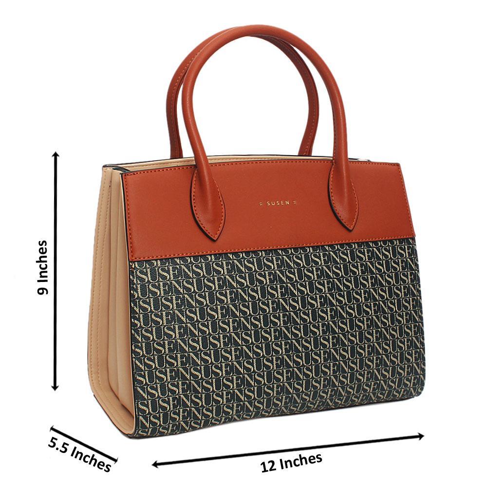Susen Peach Brown Belinda Leather Tote Handbag