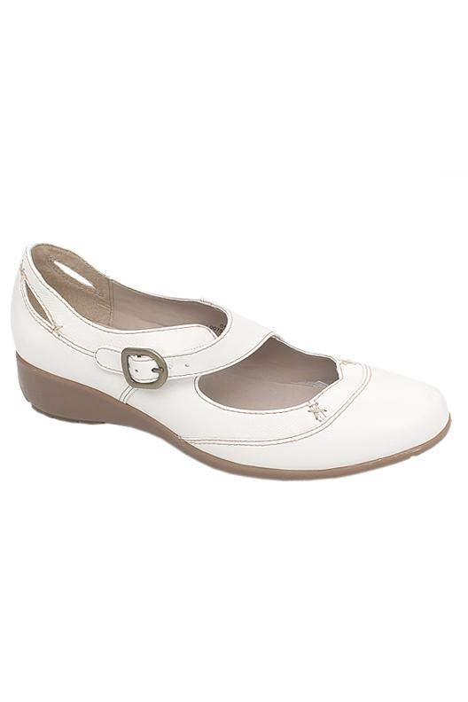 Footglove White Mix Ladies Flat Shoe