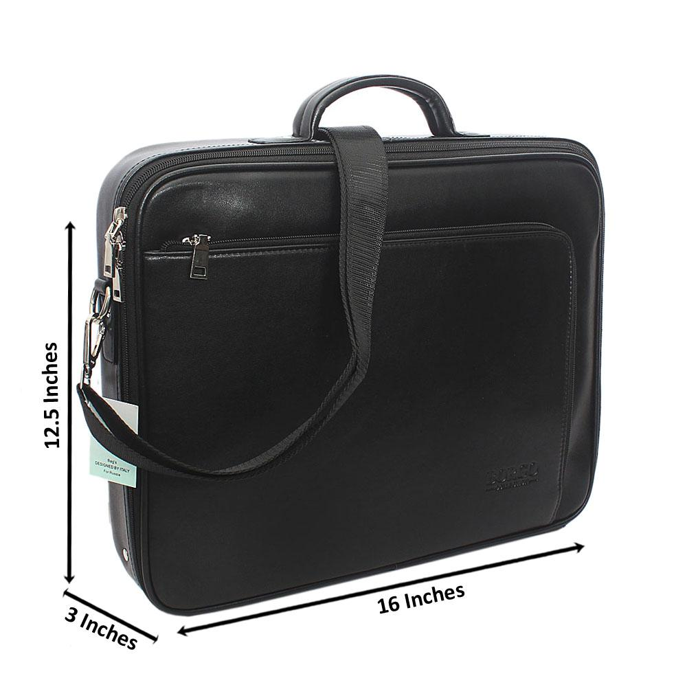 Black Multi Zip Leather Briefcase