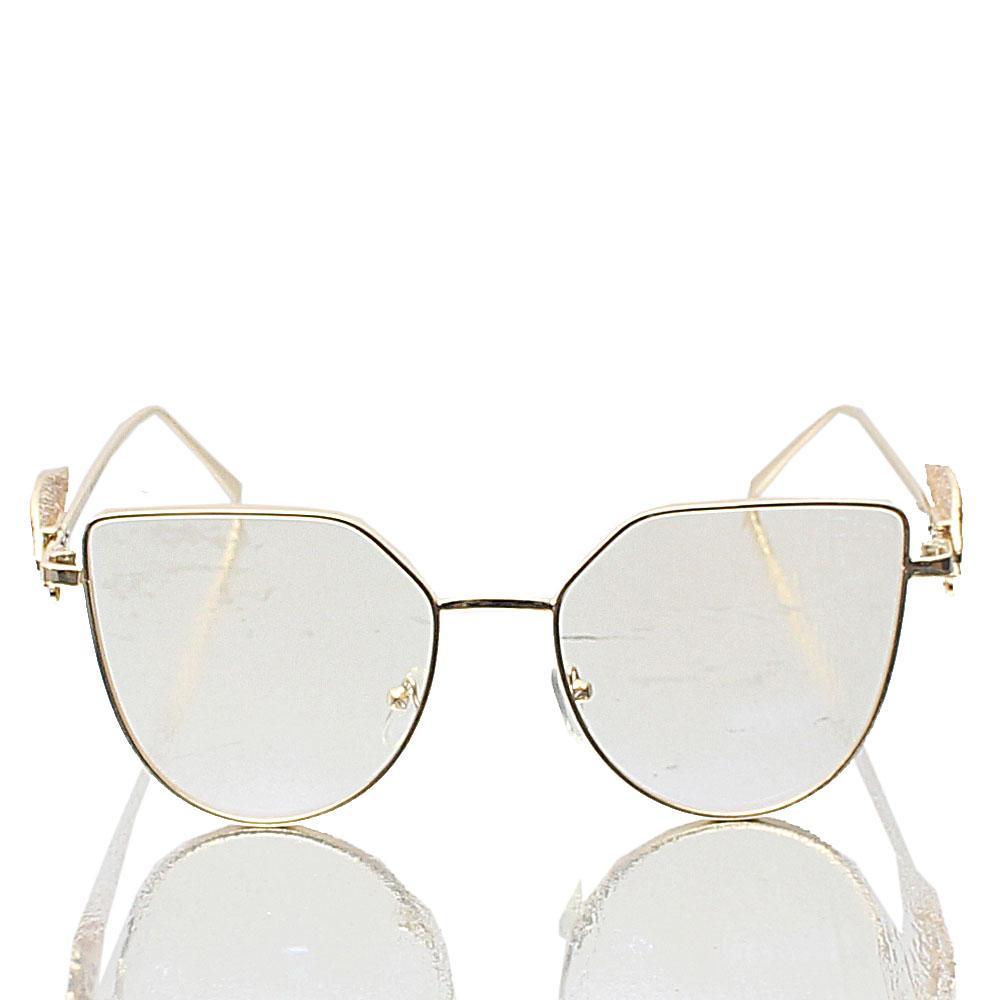 Gold Cat eye Transparent Lens Glasses