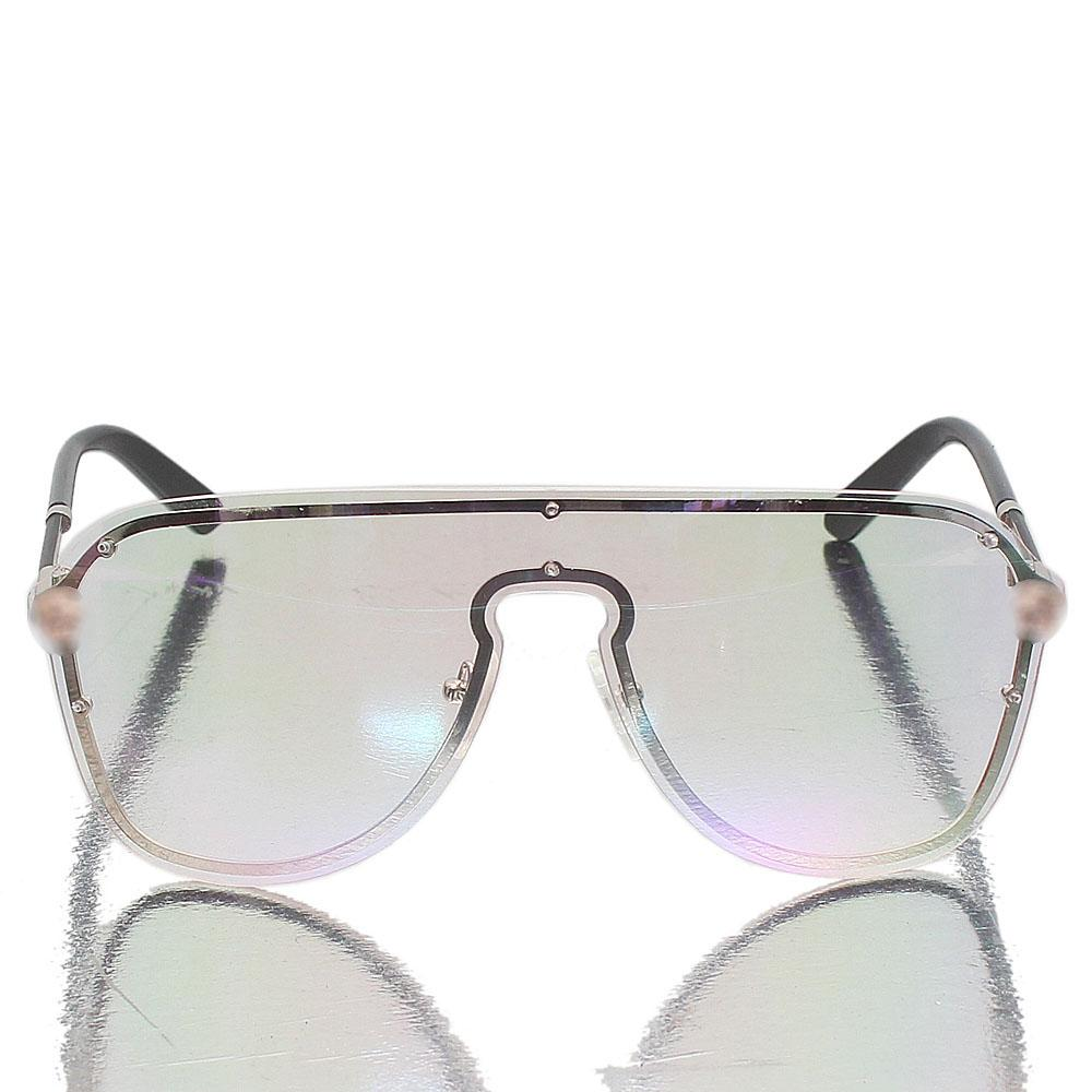 Silver Black Shield Clear Face Glasses