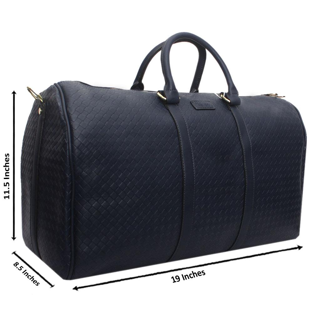 Navy Leather Large Haymarket Bowling Bag