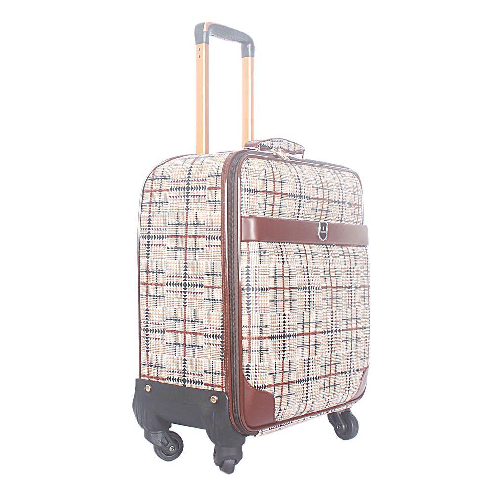 Brown Cream 16 Inch Leather Pilot Suitcase Wt Lock
