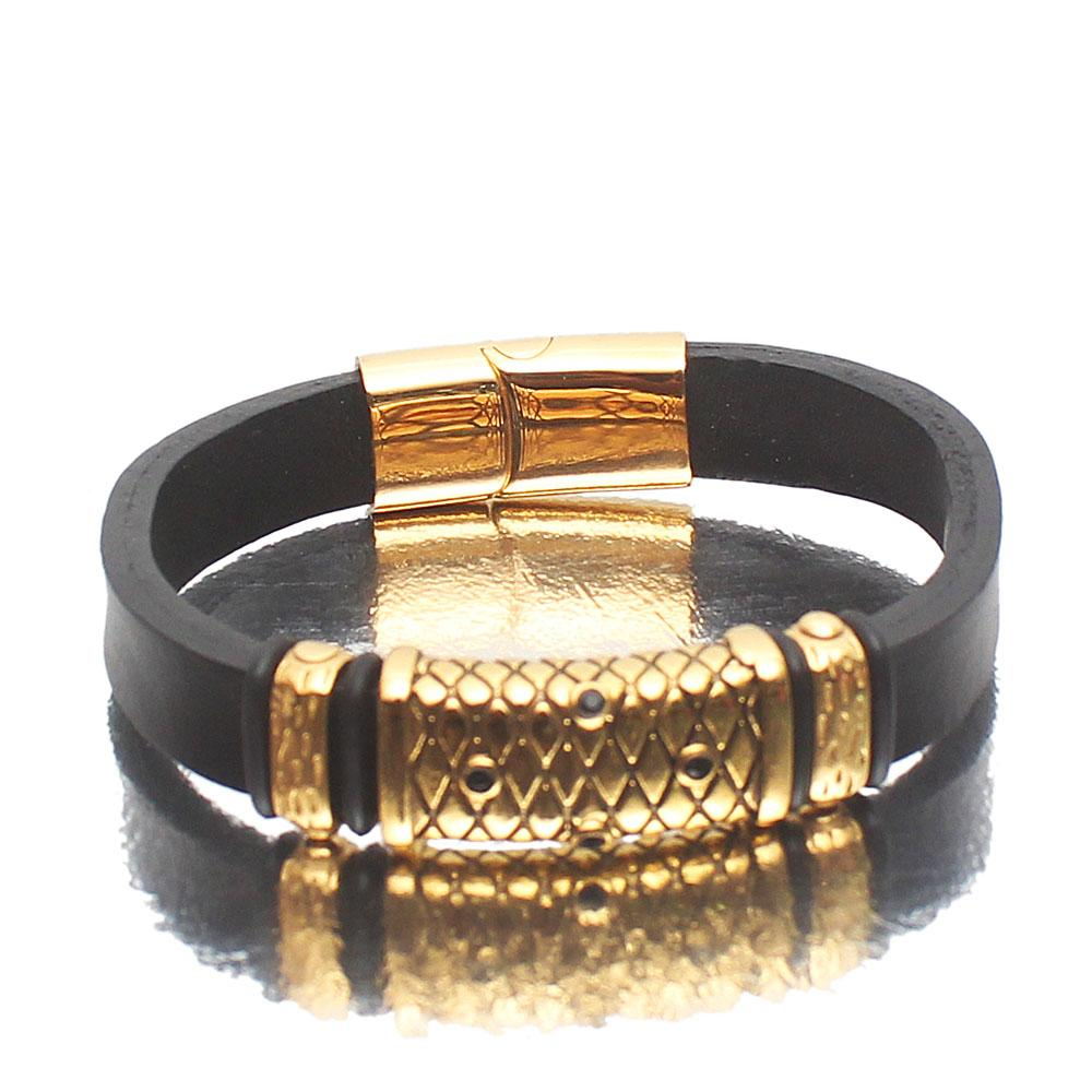 Black Dots Emirati Gold Leather Bracelet