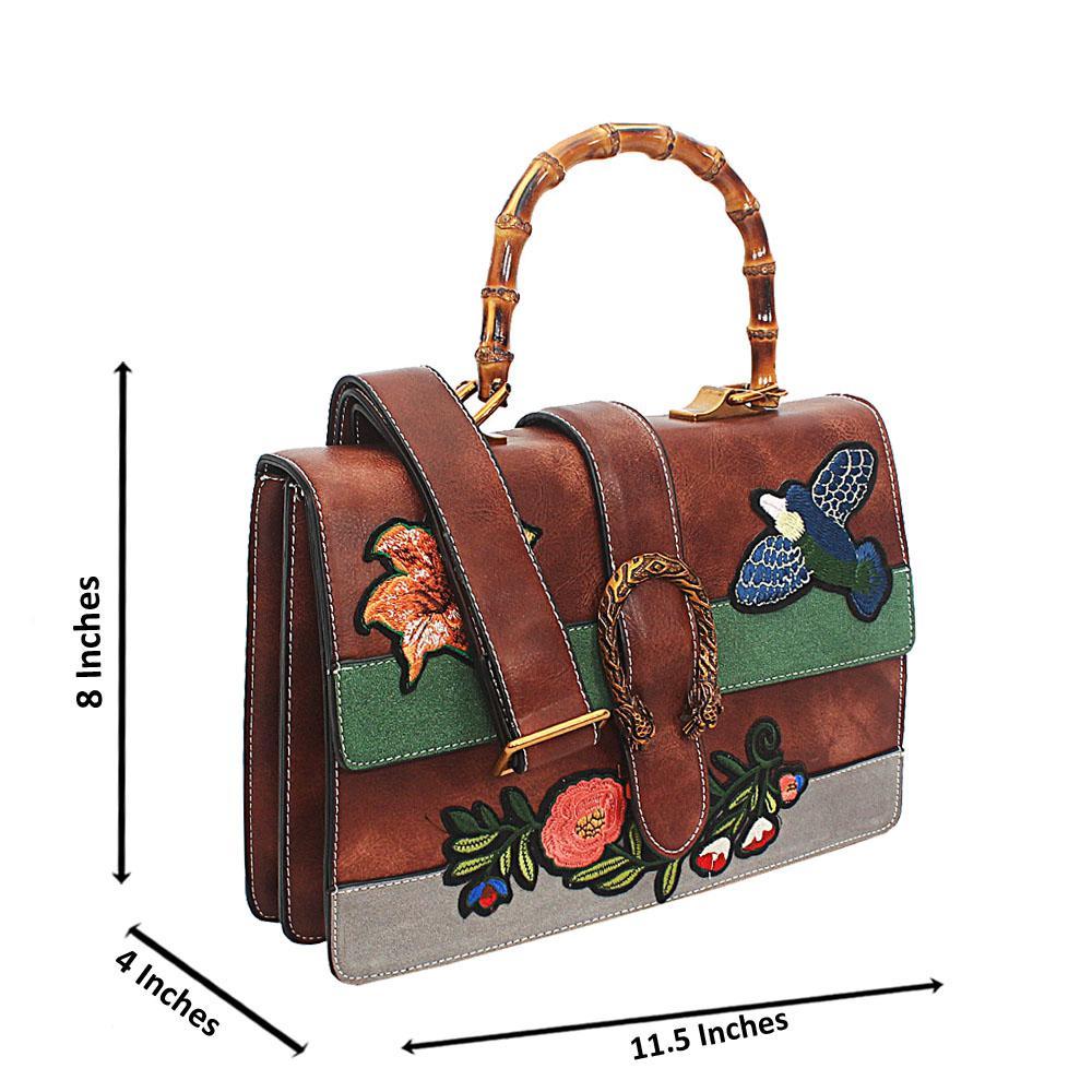Brown Katie Tuscany Leather Wooden Top Handle Handbag