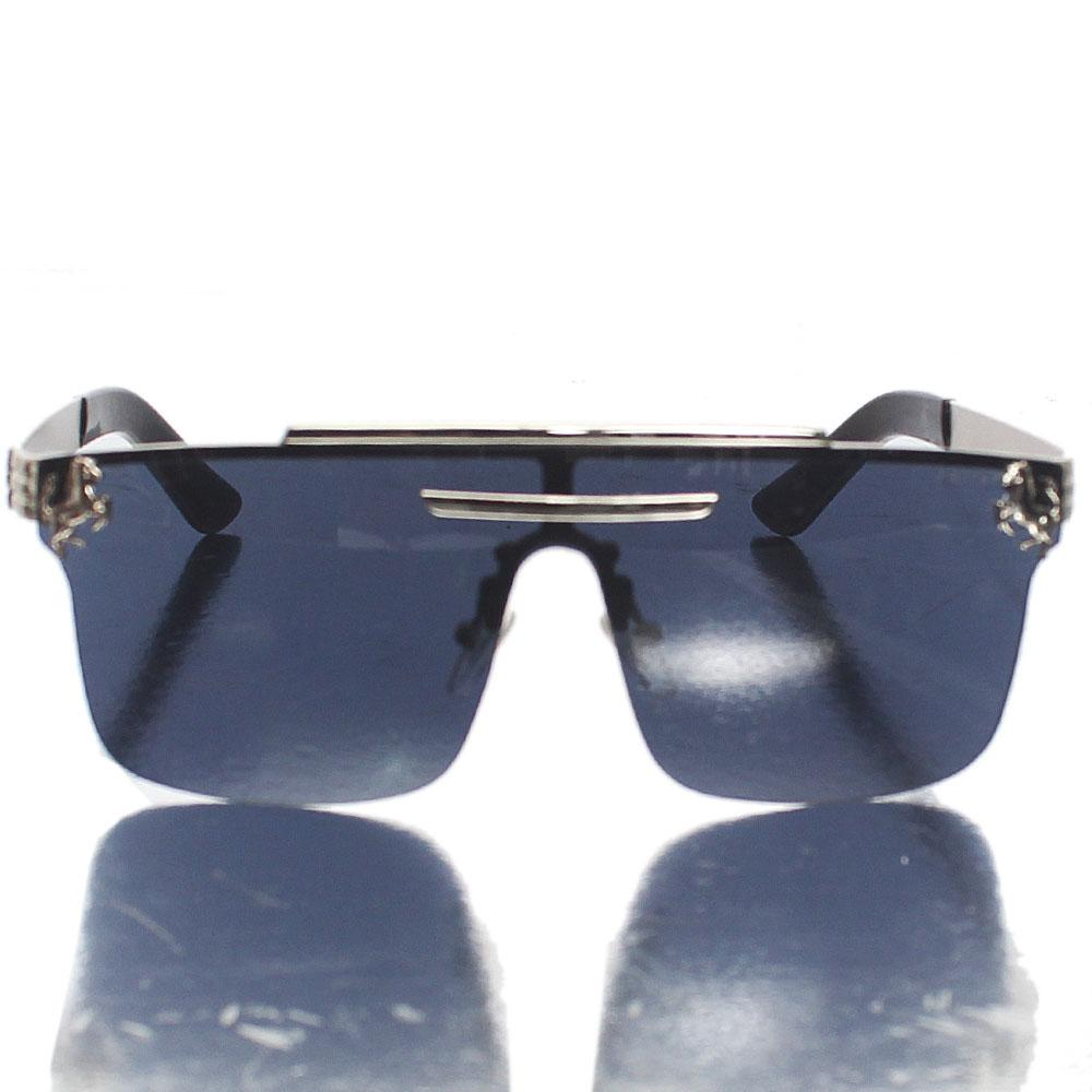 Silver Black Shield Lens Sunglasses