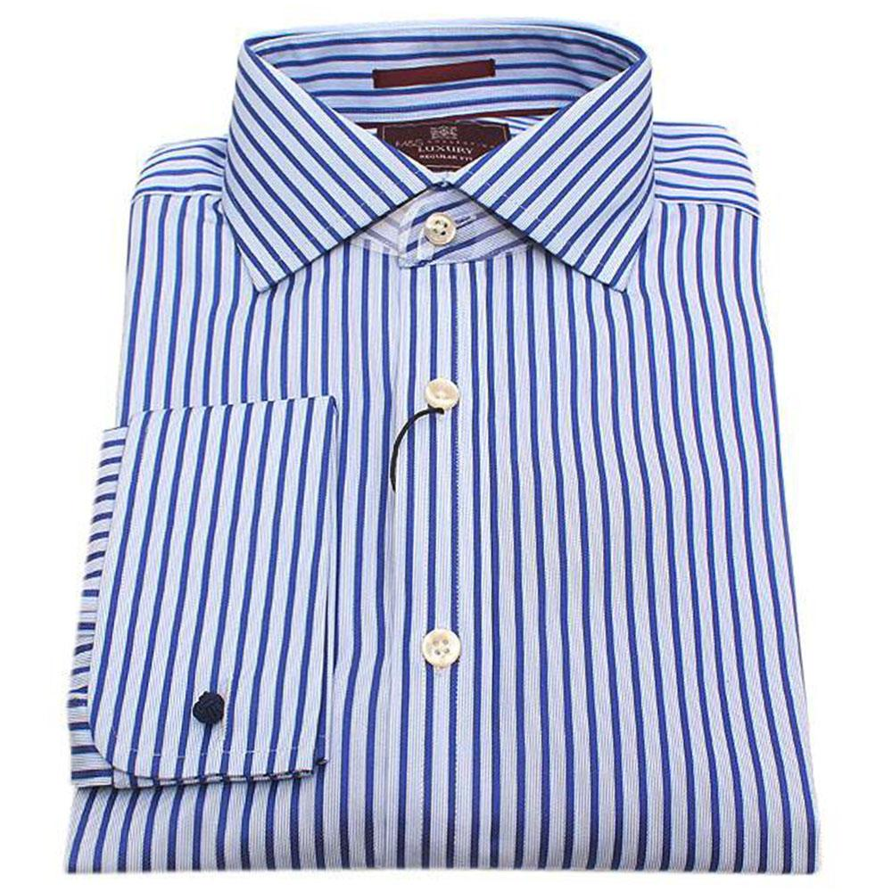 M & S Luxury Blue Striped Double Fold Regular Fit Men Cuff Shirt