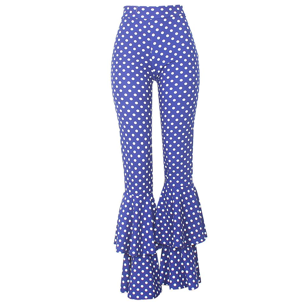 Blue  White Polka Dotted Ladies Flare Trouser