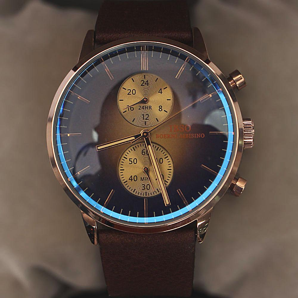 Classic Icon Brown Leather Flat Watch
