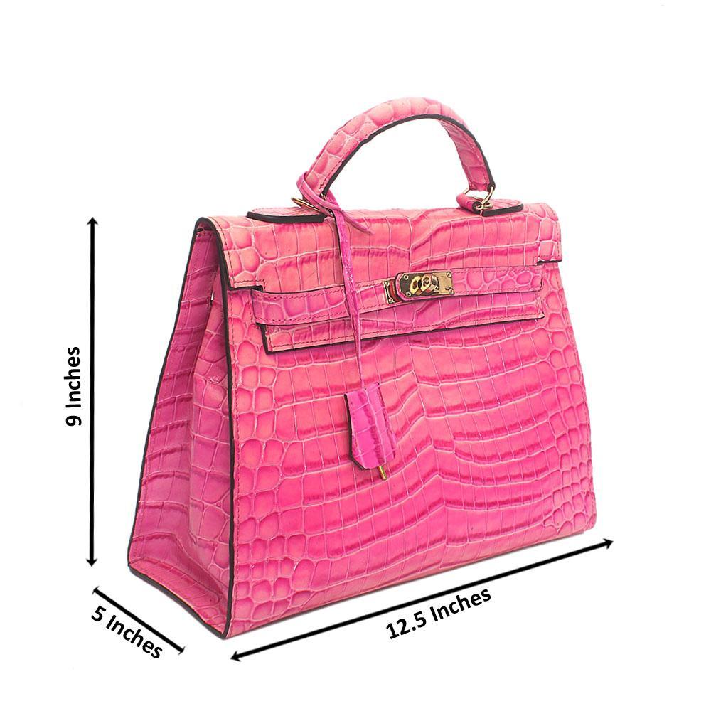 Pink Faded Leather Handbag Wt Inside Peeling