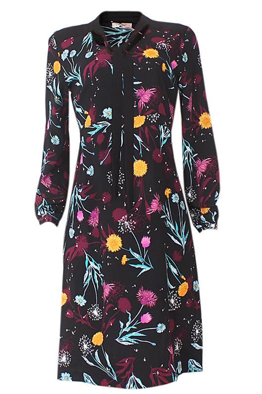 Per Una Black Floral Print Cotton L/Sleeve  Dress