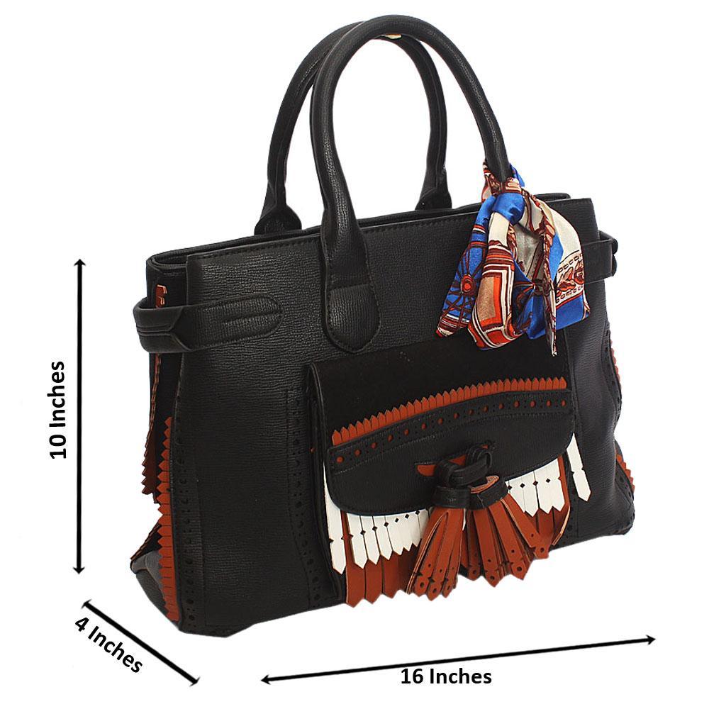 Black Floxy Leather Tote Handbag
