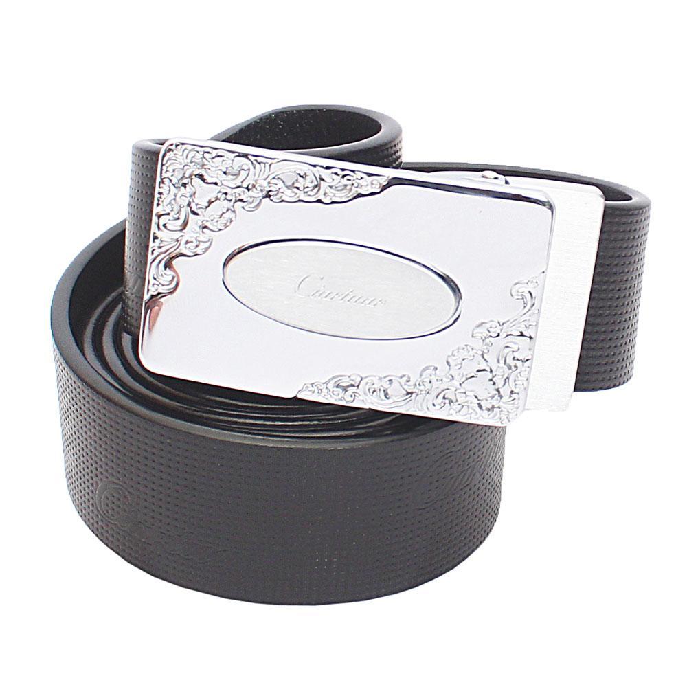 Black Etched Italian Leather Belt L52