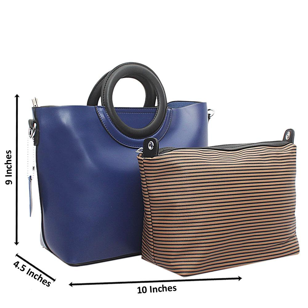 Blue Mel-Rose Leather Small Top Handle Handbag