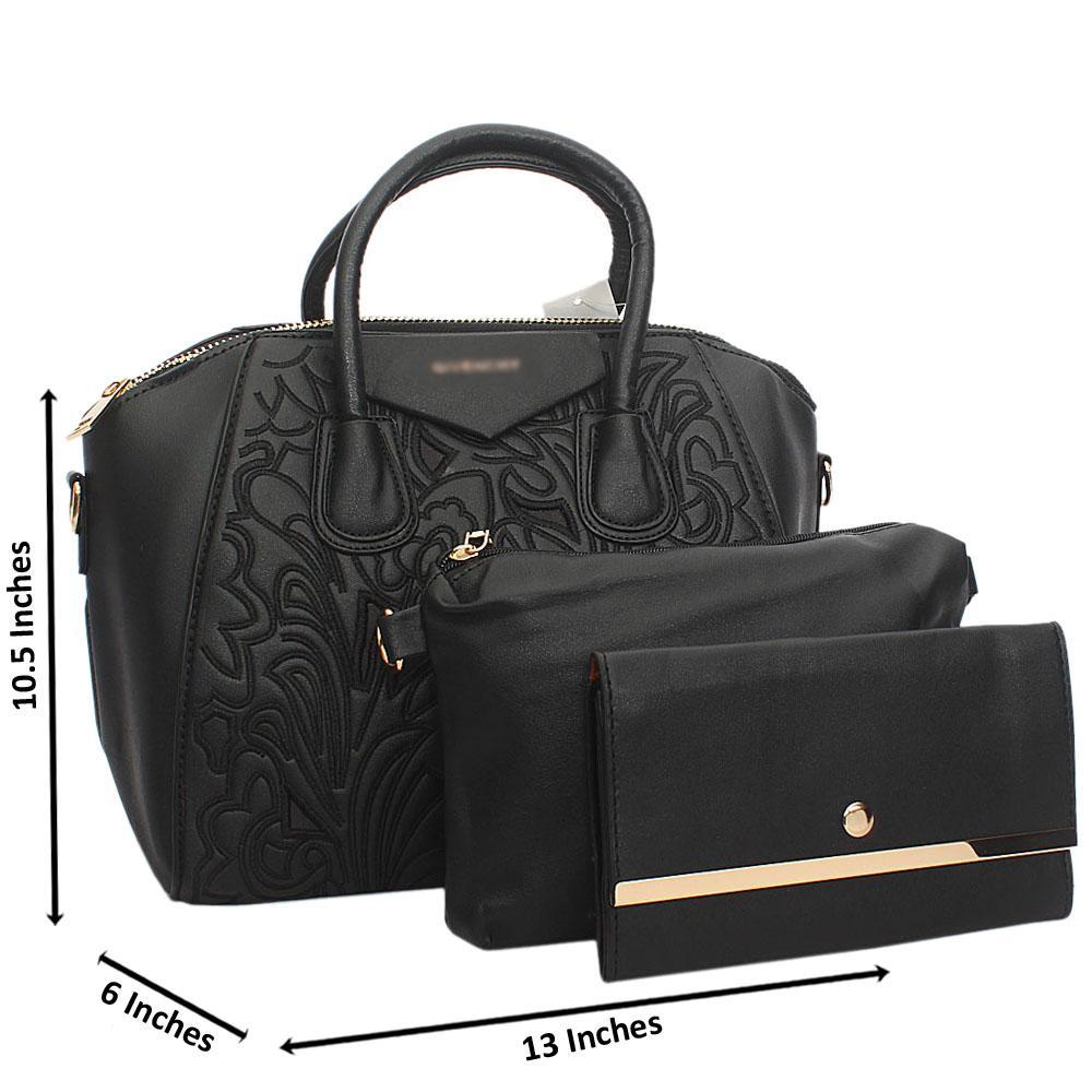 Black Zoe Tuscany Leather Tote Handbag
