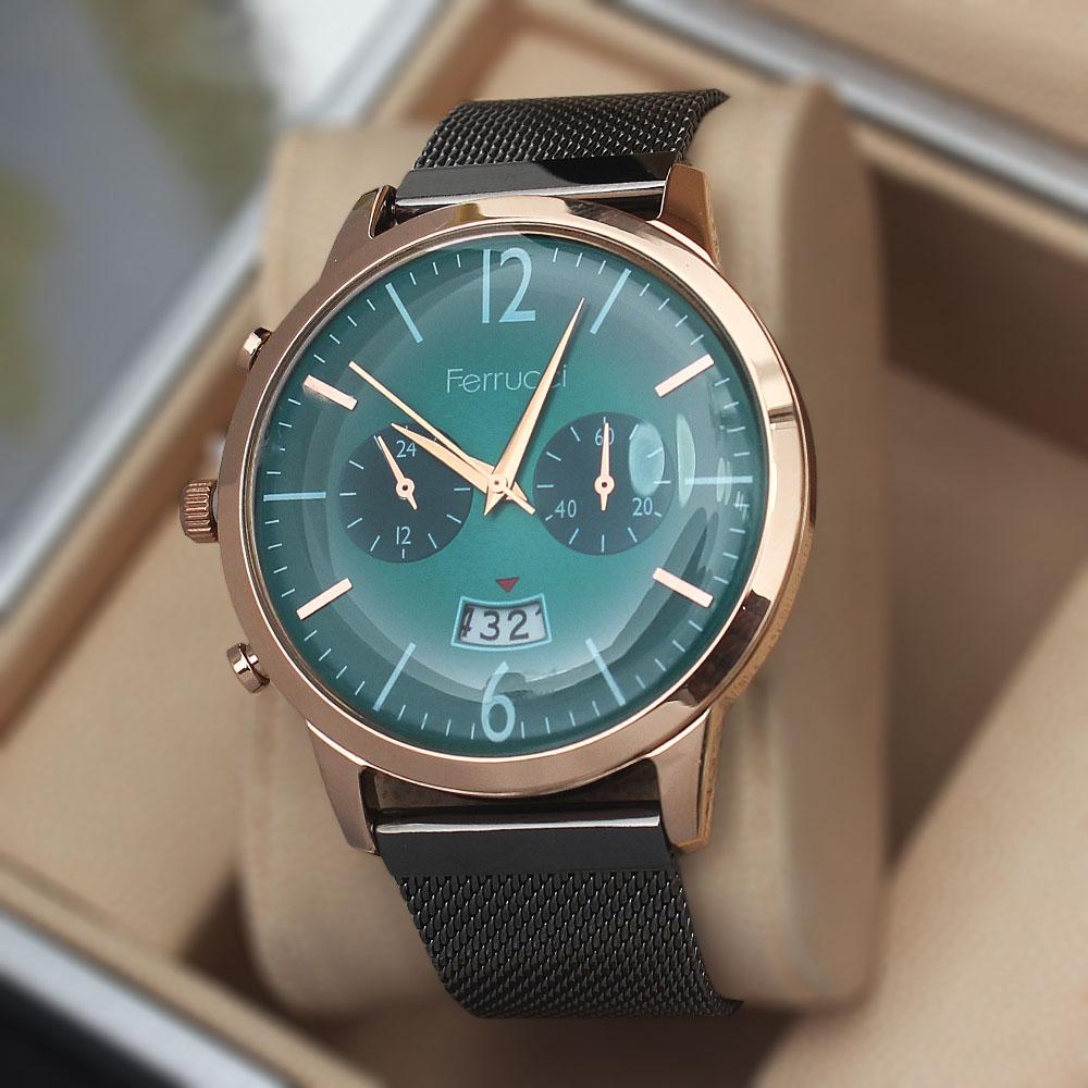 Ferruci Adelia Green Grey Mesh Watch