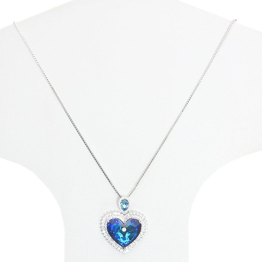 Long Stainless Steel Necklace with Swarovski Element Love Stone