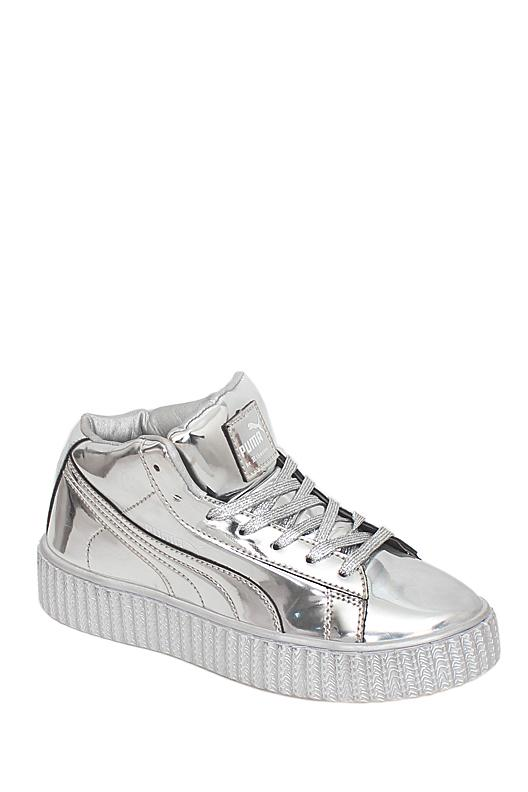 Puma Silver Patent Leather Ladies Sneakers