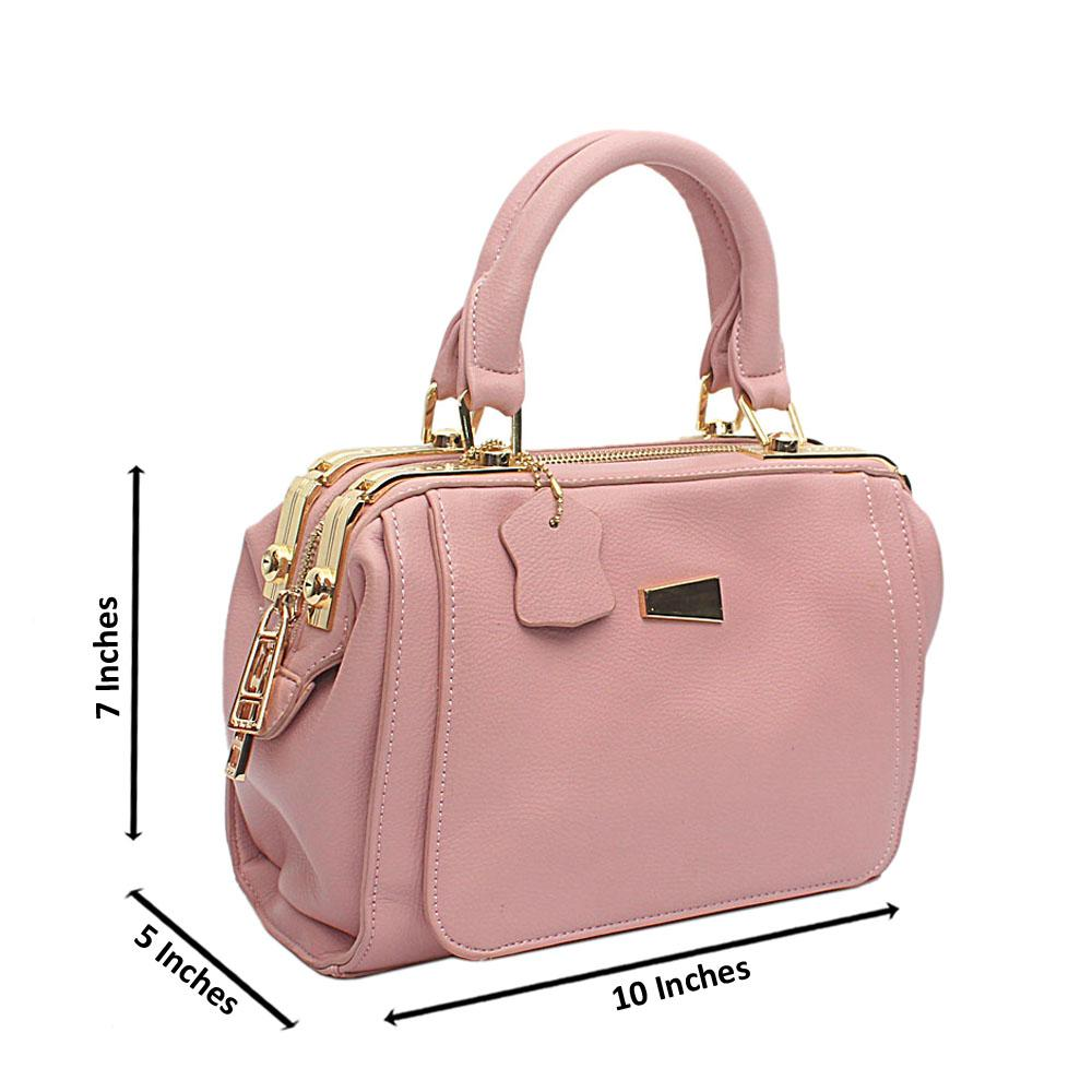 London Style Pink Leather Small Tote Bag