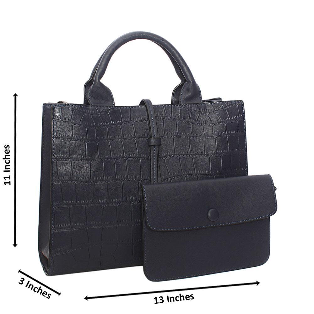 Navy Adrian Croc Leather Tote Handbag