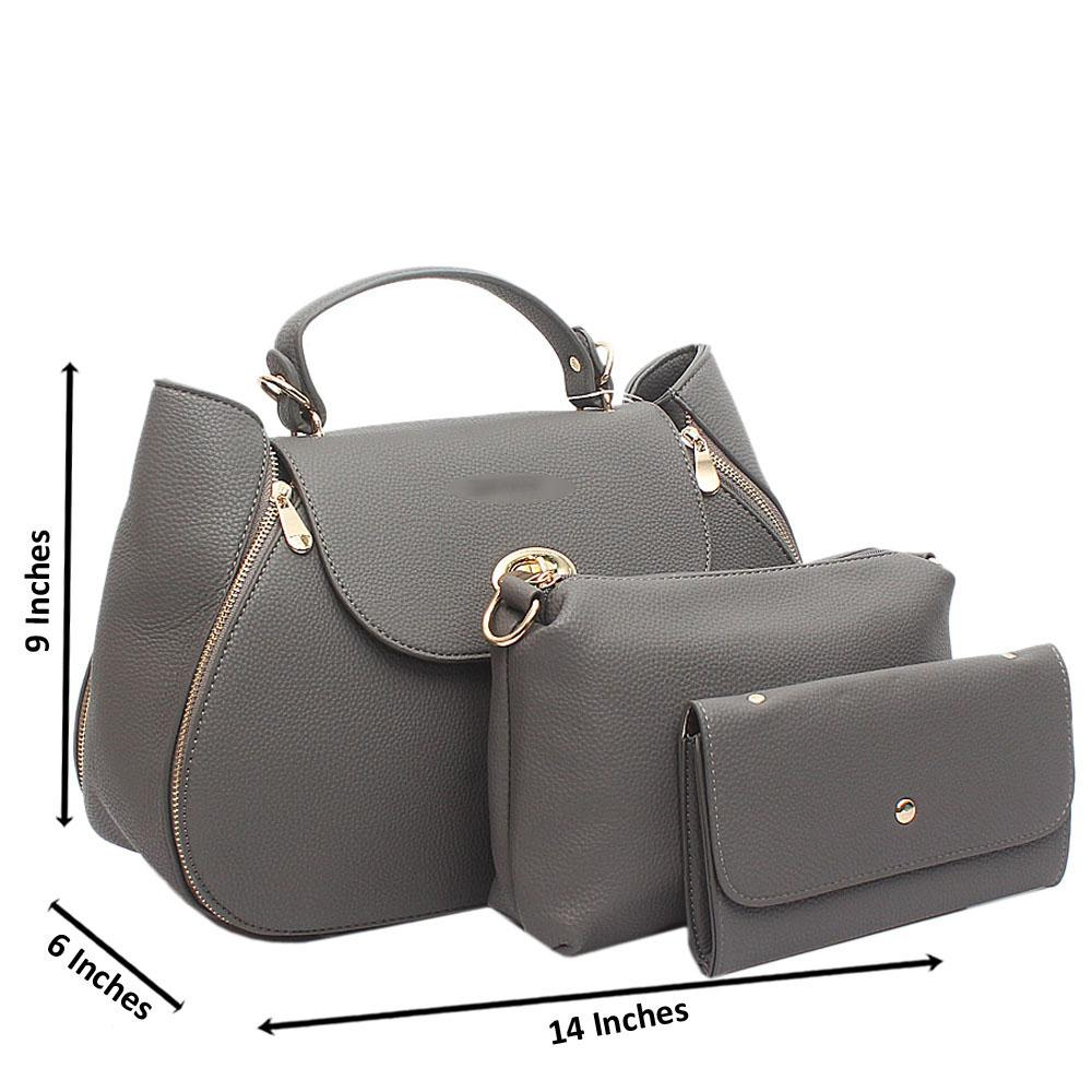 Grey Curved Medium Leather Handbag