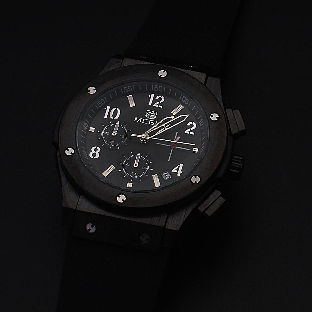 Megir Black Rubber Strap Big Bang Chronograph Watch