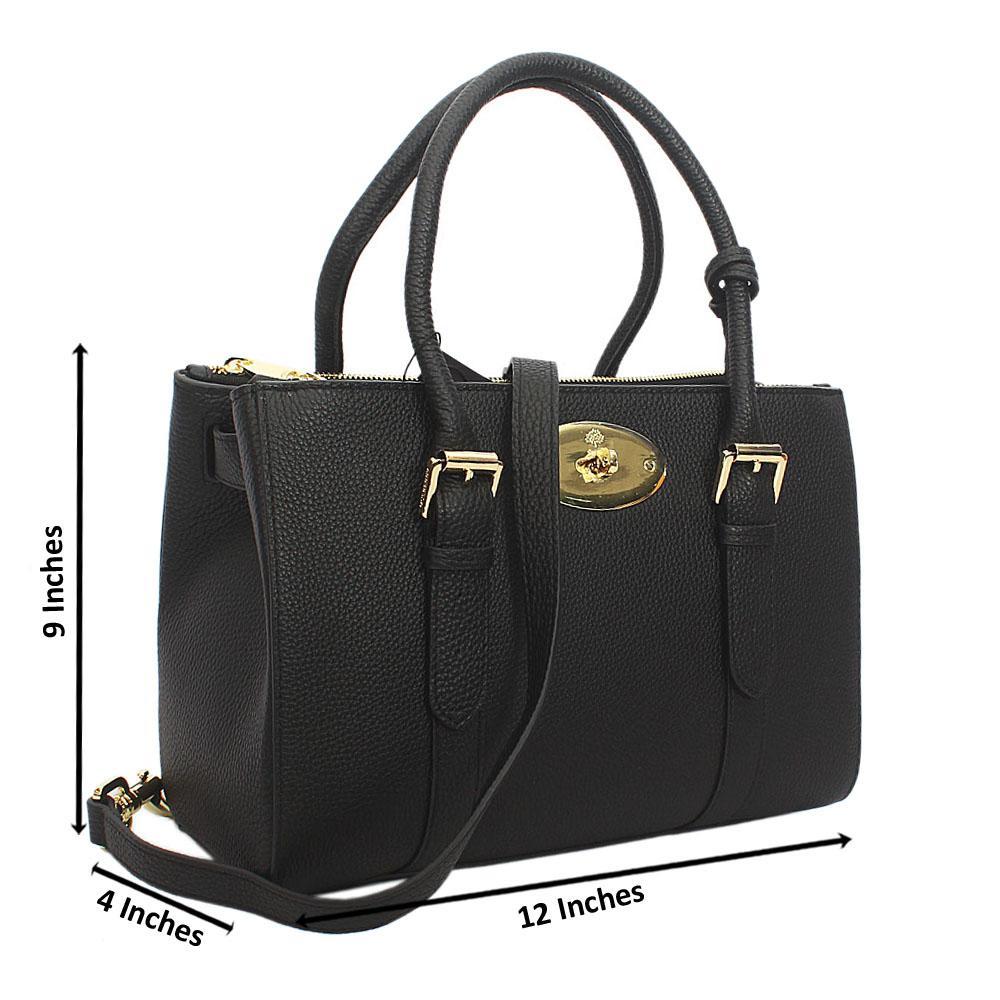 Black kya Double zip Cowhide Leather Tote Handbag