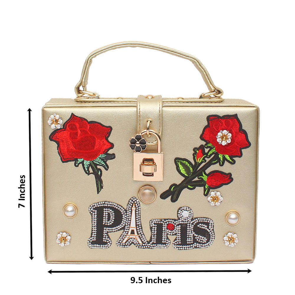 Paris Flora Gold Leather Bag