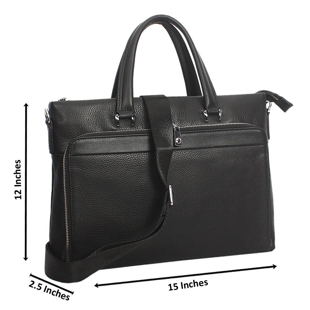 Black Tusie Classic Top Grain Leather Tote Man Bag
