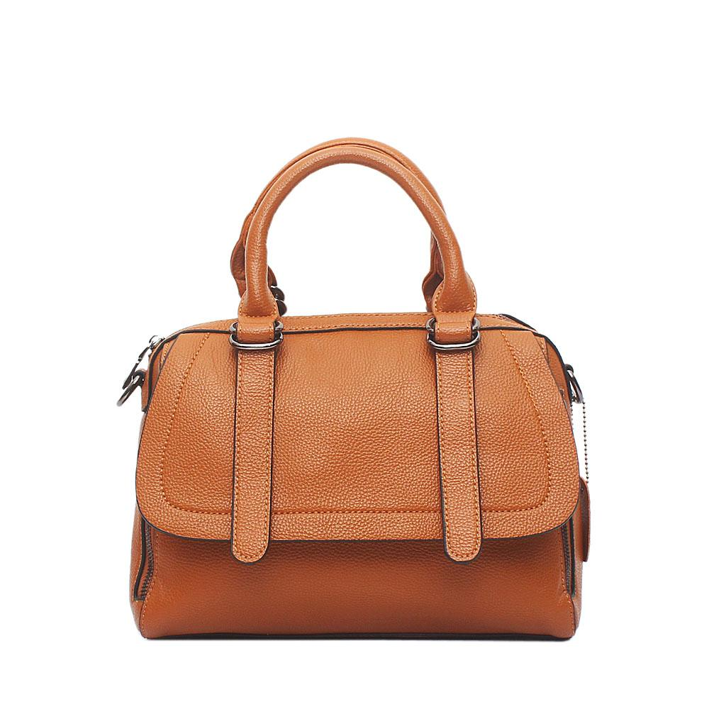 London Style Brown Black Leather Handbag