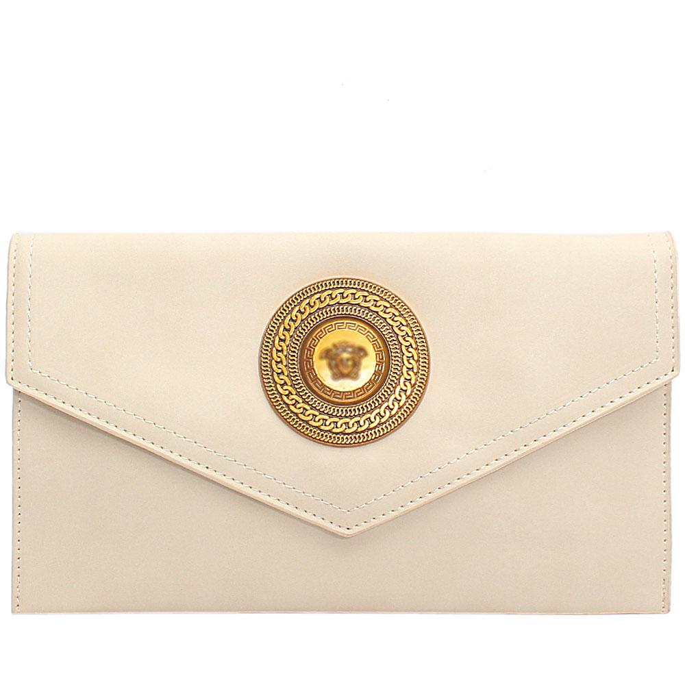 Cream Adora Leather Flat Purse