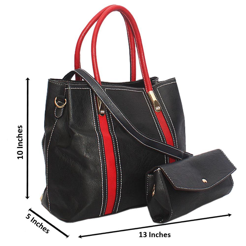 Black Red Ameira Leather Tote Handbag