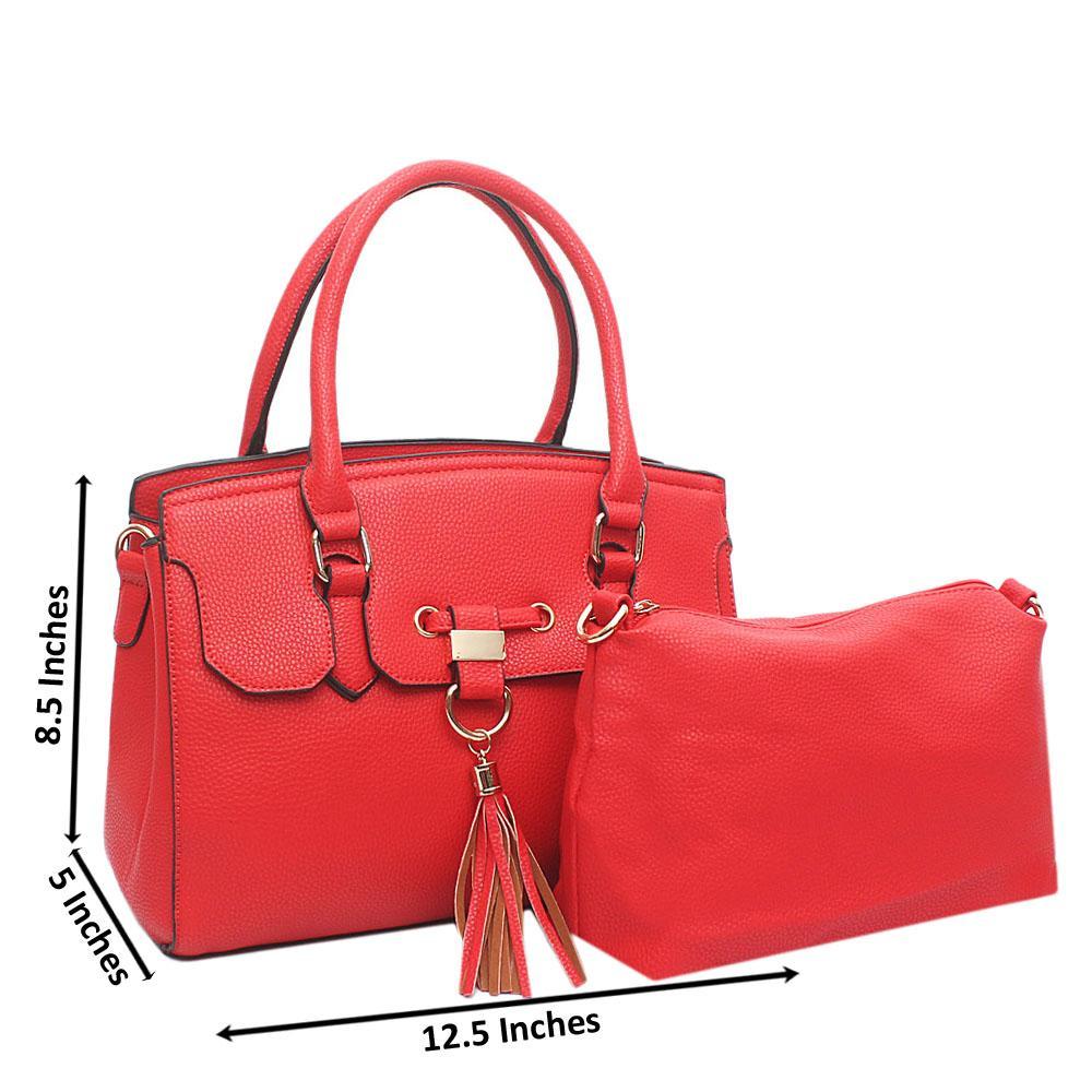 F & A Red Leather Medium Handbag