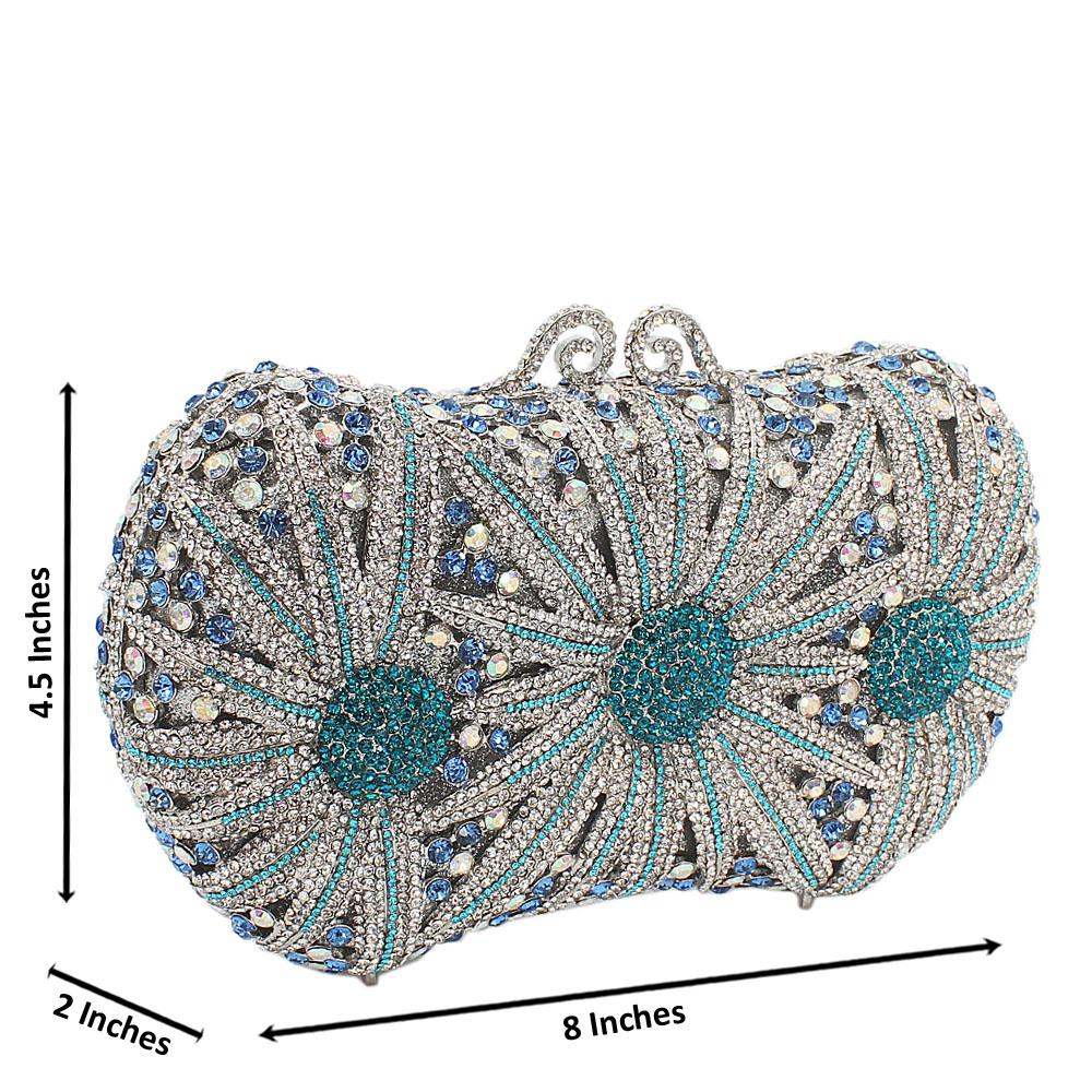 Silver  MixTeal Fireworks Diamante Crystals Clutch Purse
