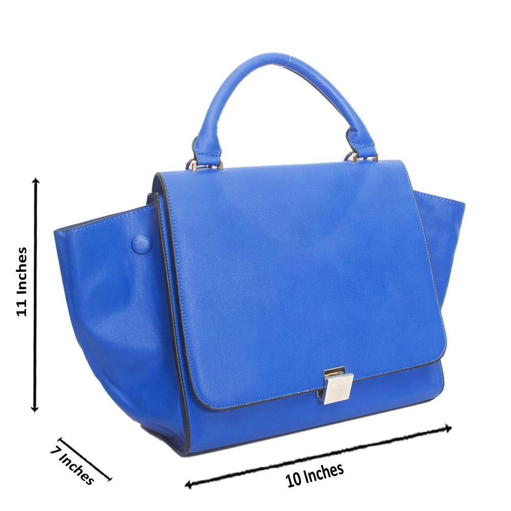 Royal Blue Leather Trapezoid Top Handle Handbag