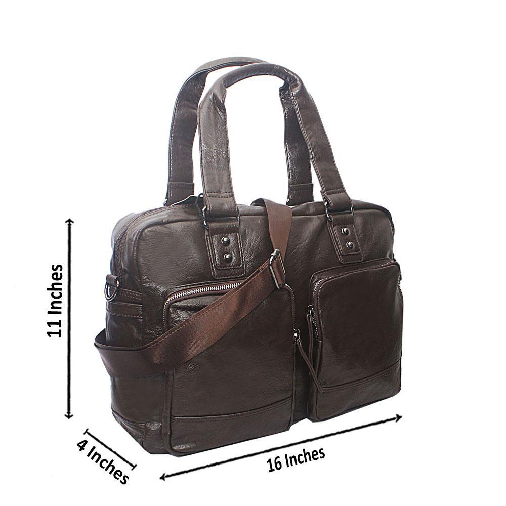 Casania Coffee Zip Pocket Overnight Travel Bag
