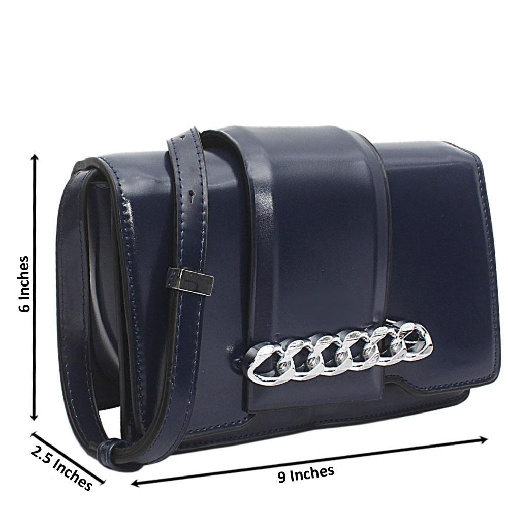 Navy Leather Infinity Chain Shoulder Bag