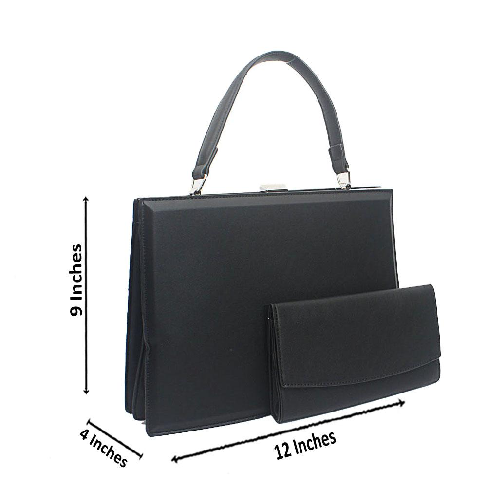 Black Structured Leather Top Handle Handbag
